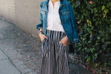 16 a white button down, a striped midi skirt, a denim jacket and brown shoes
