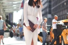 16 an all-white look with a button down and a midi pencil skirt with a slit plus nude shoes