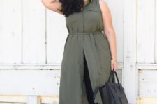 plus size outfit with a shirtdress