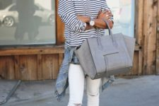 16 white ripped skinnies, a striped top, a denim jacket, blush flats and a grey bag