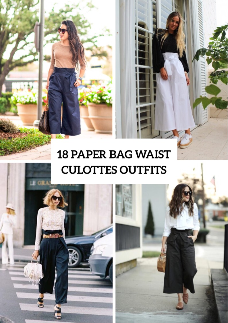 Outfits With Paper Bag Waist Culottes