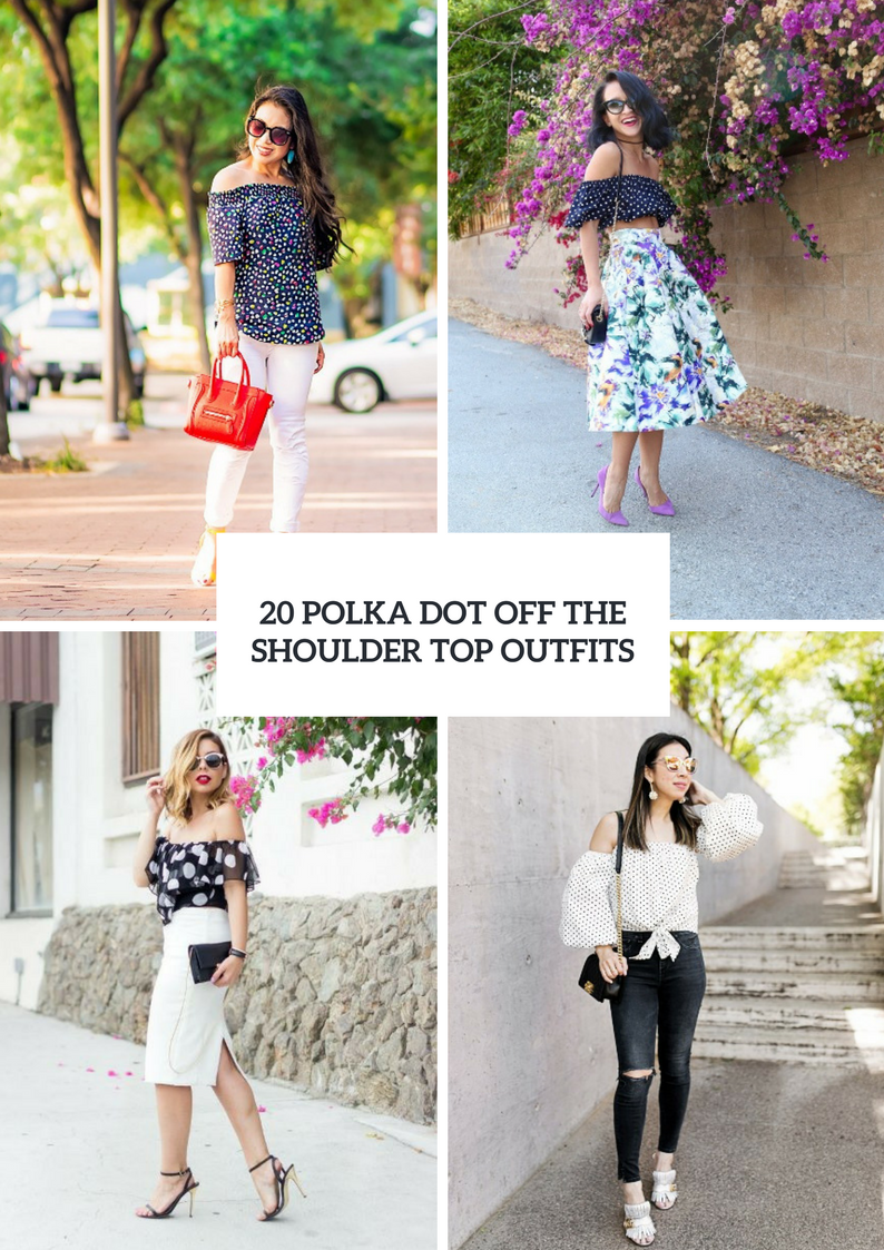 Incredible Outfits With Polka Dot Off The Shoulder Tops