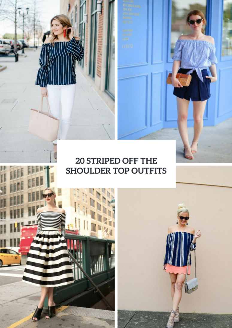 Outfits With Striped Off The Shoulder Tops