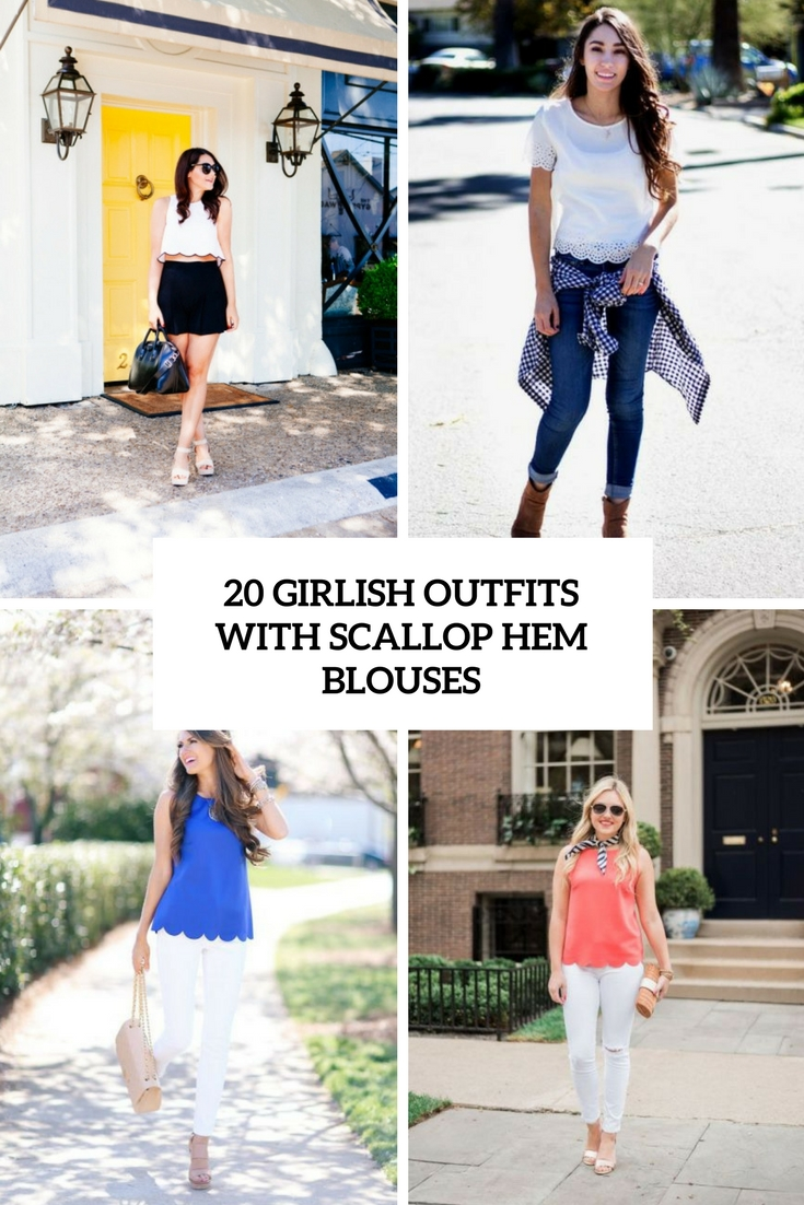 girlish outfits with scallop hem blouses cover