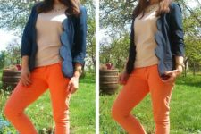 With beige shirt, orange trousers and flats