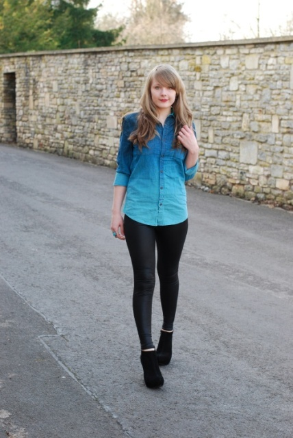 With black leggings and suede ankle boots
