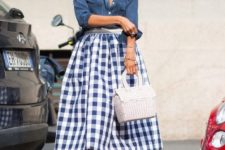spring-summer look with a checked skirt
