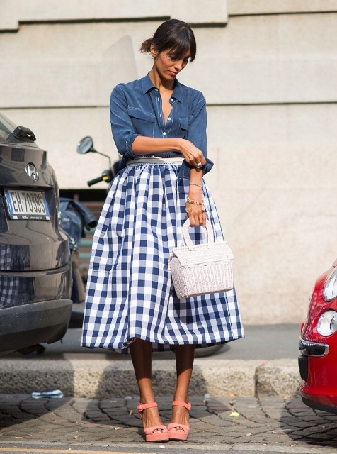 With button down shirt, checked midi skirt and pale pink platform sandals