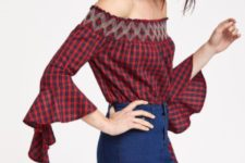 With denim mini skirt