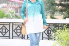 With jeans, beige bag and shoes