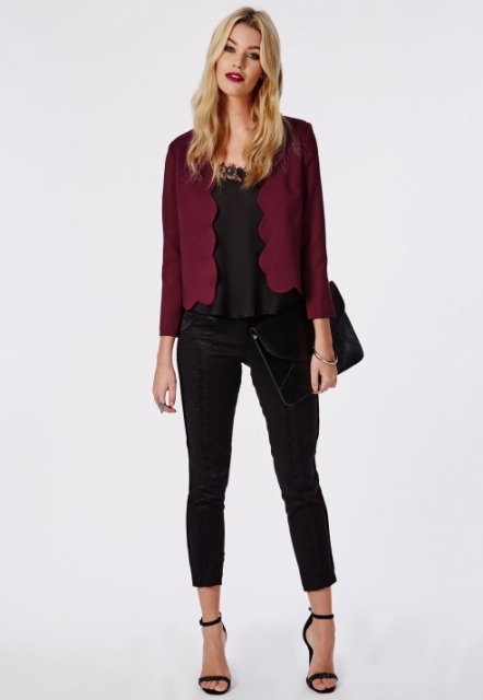 With lace blouse, crop pants, high heels and clutch