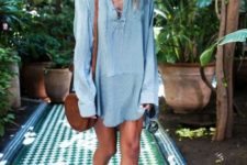 With lace up shirtdress and brown bag