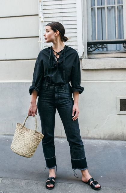 With loose shirt, crop jeans and flat sandals