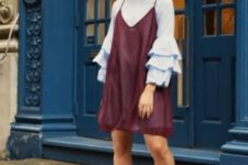 With marsala dress and silver shoes