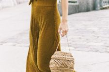 With maxi dress and lace up sandals