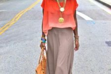 With maxi skirt and bag