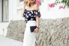 With midi pencil skirt, black clutch and black sandals