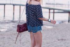 With mini shorts, marsala bag and marsala flat shoes