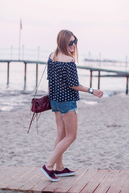 With mini shorts, marsala bag and marsala flat shoes