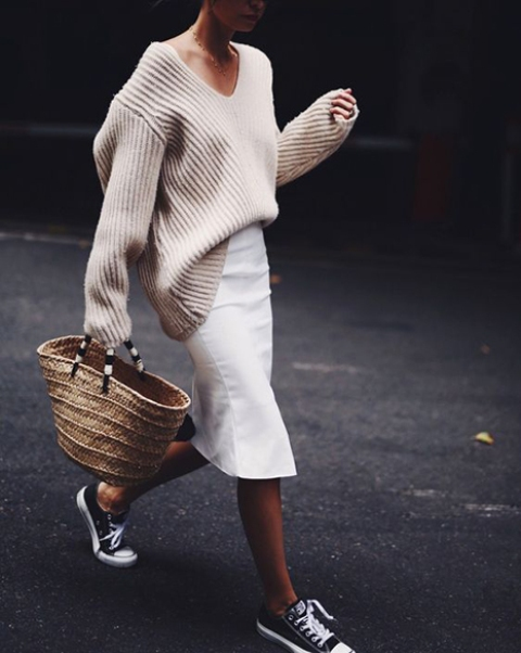With oversized sweater, white midi skirt and sneakers