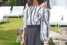 summer look with polka dot skirt