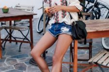 sexy summer look with denim shorts