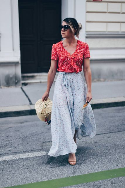 With printed blouse, printed maxi skirt and beige shoes