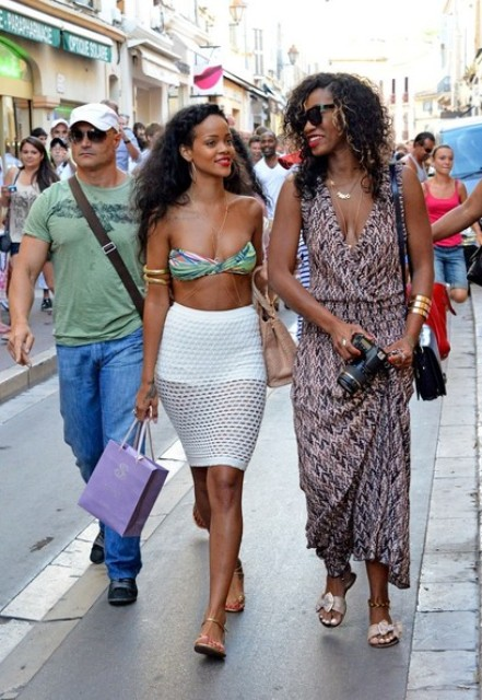 With printed bra top and white pencil skirt