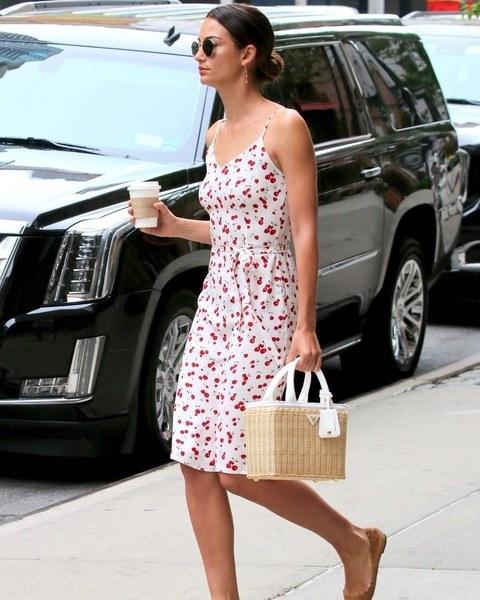 With printed knee-length dress