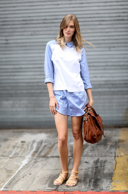 With shirtdress and brown bag