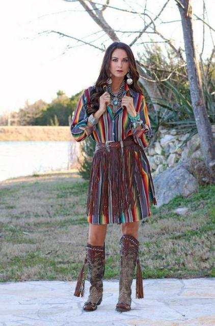 With striped dress and high boots