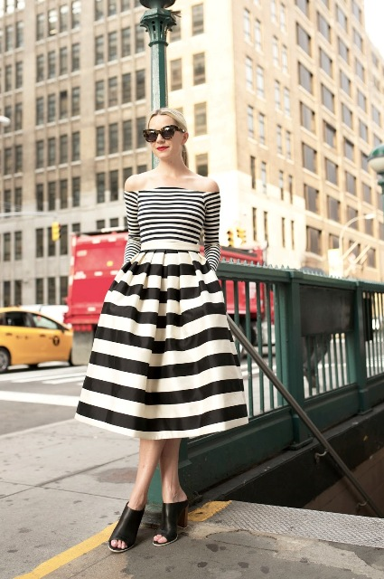 With striped midi skirt and black mules