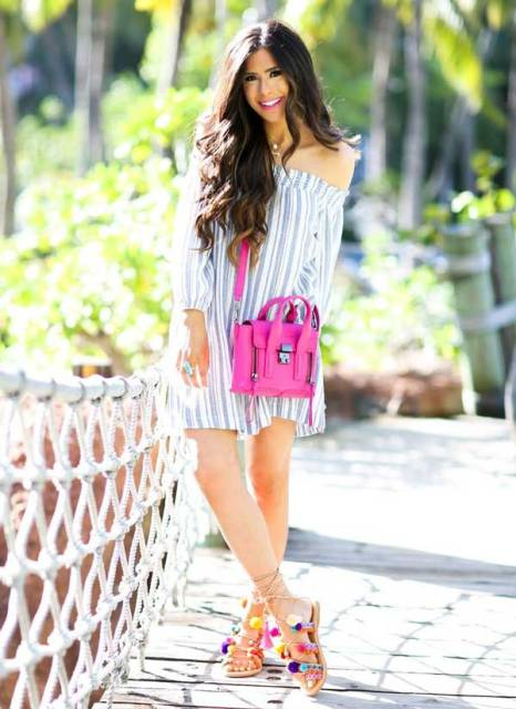 summer look with an off the shoulder dress