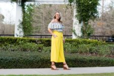 With striped off the shoulder top and brown sandals