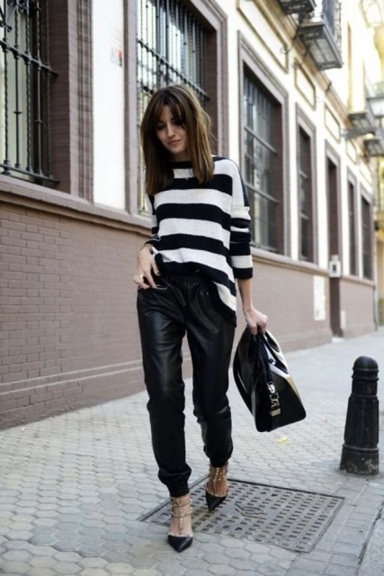 With striped shirt, black bag and high heels