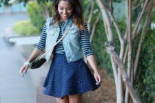With striped shirt, denim vest, polka dot skirt and crossbody bag
