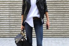 With white blouse, skinny jeans, black leather jacket and black backpack