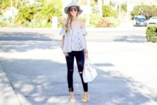With white hat, yellow sandals, pants and white bag