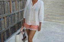 With white loose blouse, black flat sandals and tote