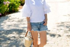 With white ruffled blouse, denim shorts and white flats