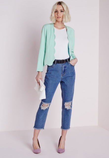 With white shirt, black belt, distressed jeans, white clutch and pumps
