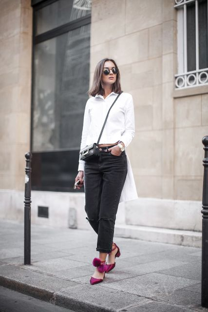With white shirt, crop trousers and crossbody mini bag