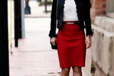 With white shirt, red pencil skirt, bag and pumps