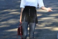 With white shirt, skinny jeans, lace up flats and marsala bag