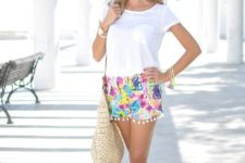 beach outfit with a straw bag