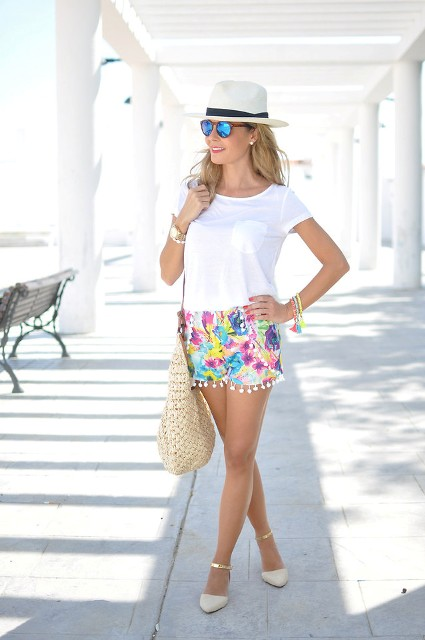 Cute beach outfit with white t-shirt, beige shoes, hat and tote