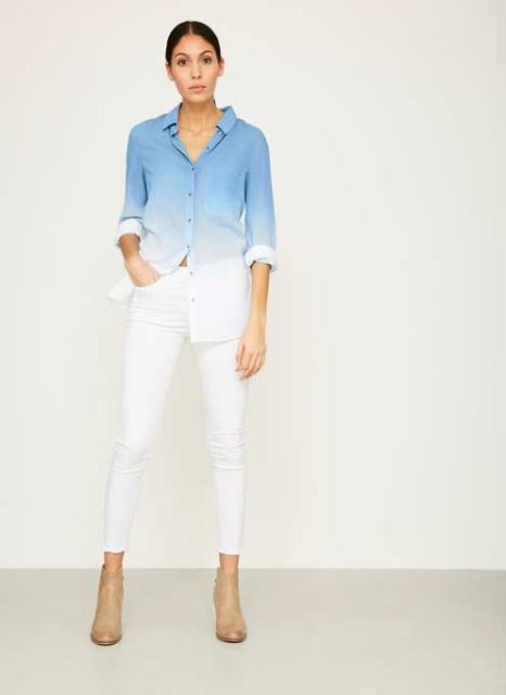 With white trousers and beige ankle boots