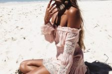 02 a blush off the shoulder mini dress with white lace detailing for a beach vacation