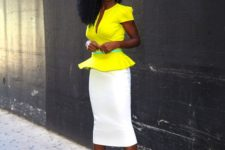 02 a creamy midi pencil skirt, a lemon yellow peplum top, blush shoes and a sash