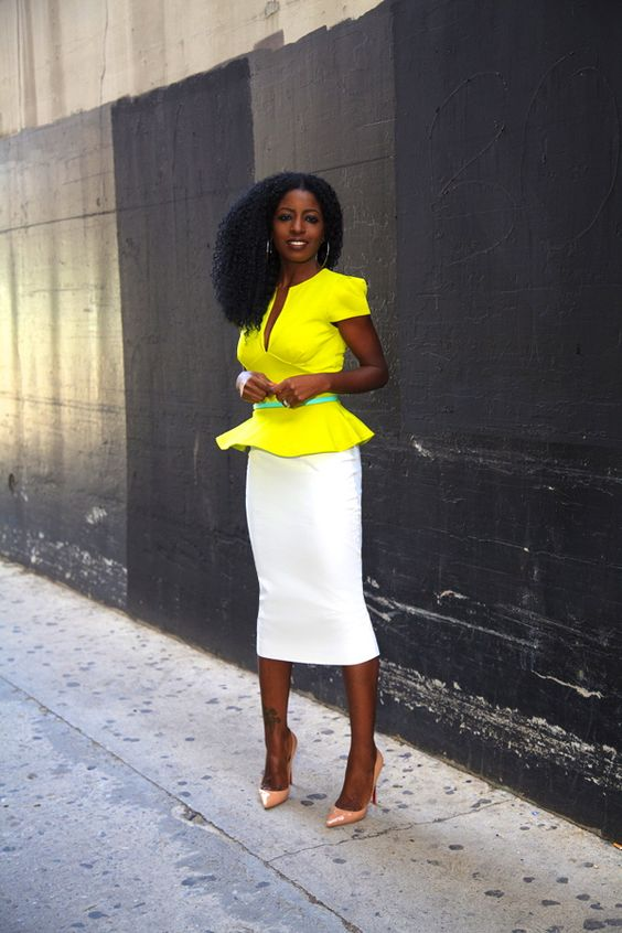 a creamy midi pencil skirt, a lemon yellow peplum top, blush shoes and a sash